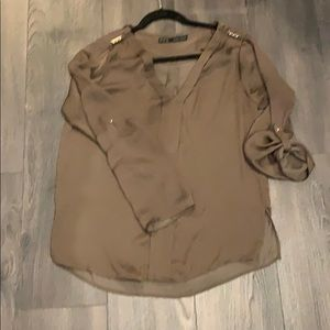 Silk blouse with military detailing